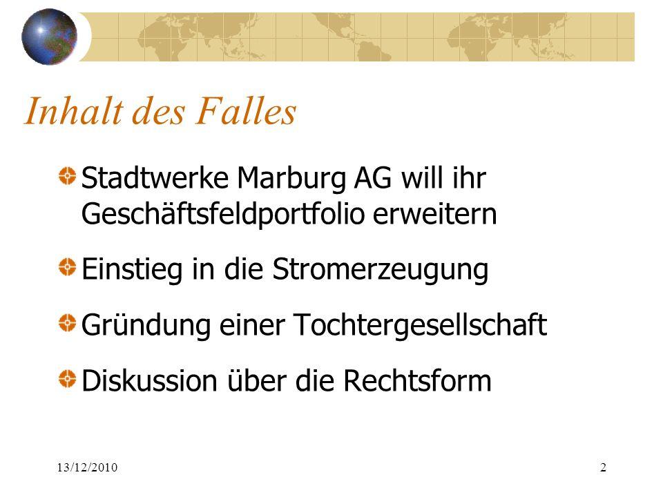 Inhalt des Falles Stadtwerke Marburg AG will ihr Geschäftsfeldportfolio erweitern. Einstieg in die Stromerzeugung.