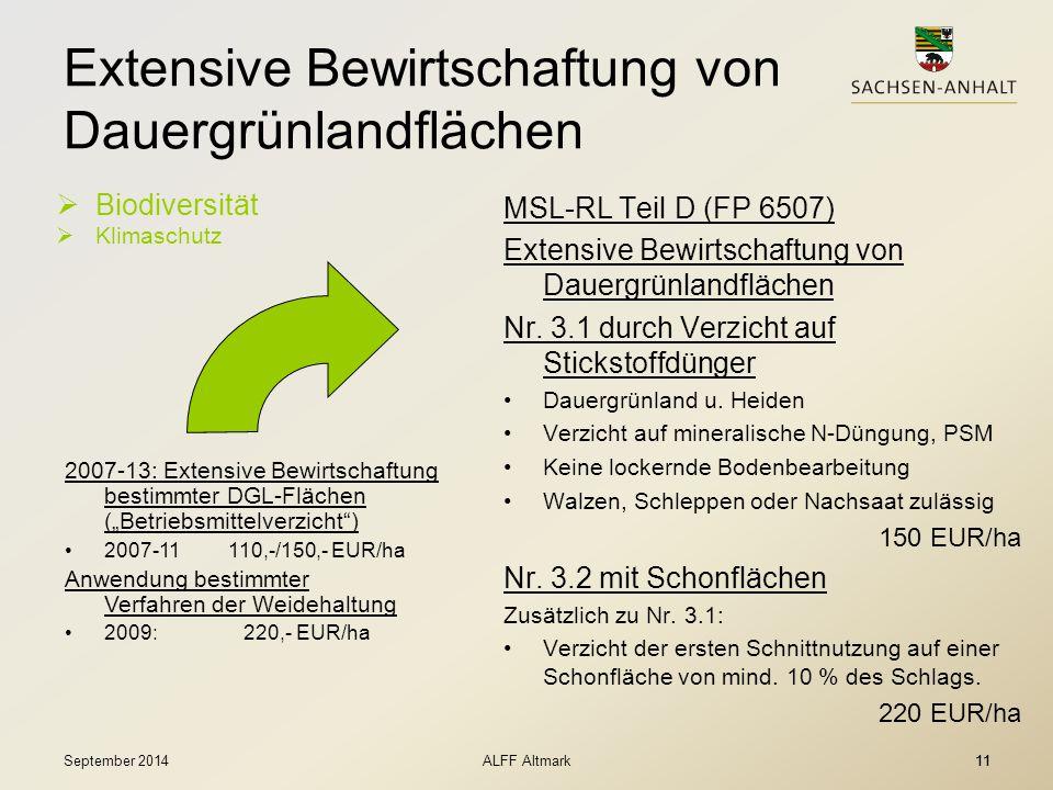 Extensive Bewirtschaftung von Dauergrünlandflächen