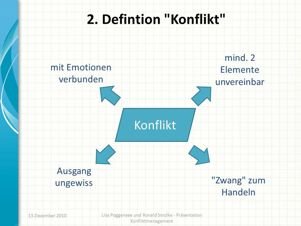 2. Defintion Konflikt Konflikt mind. 2 Elemente unvereinbar