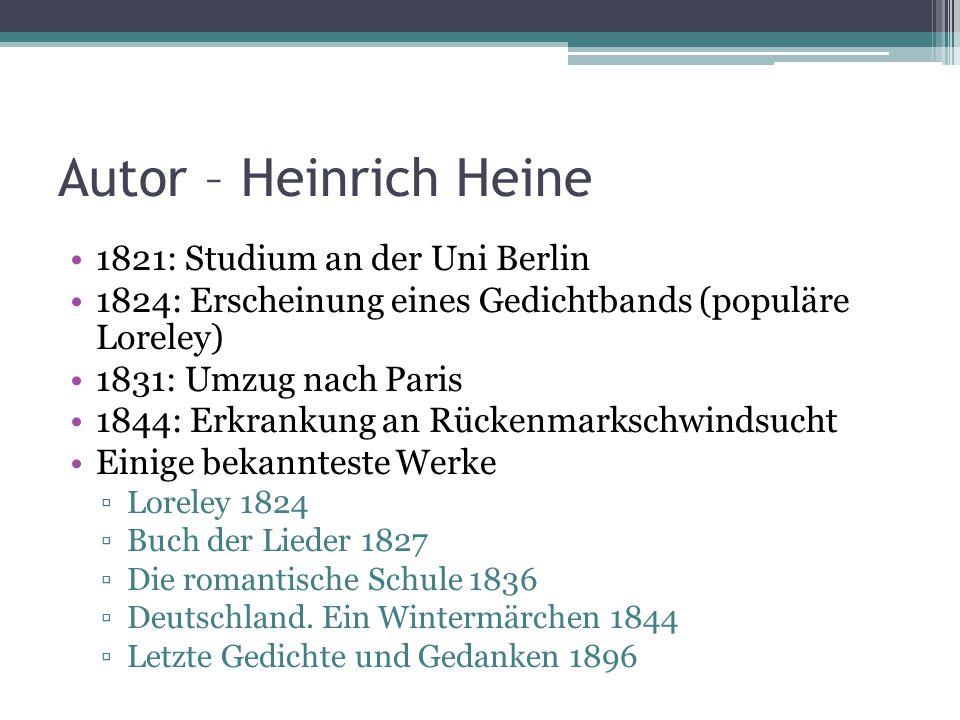 Autor – Heinrich Heine 1821: Studium an der Uni Berlin