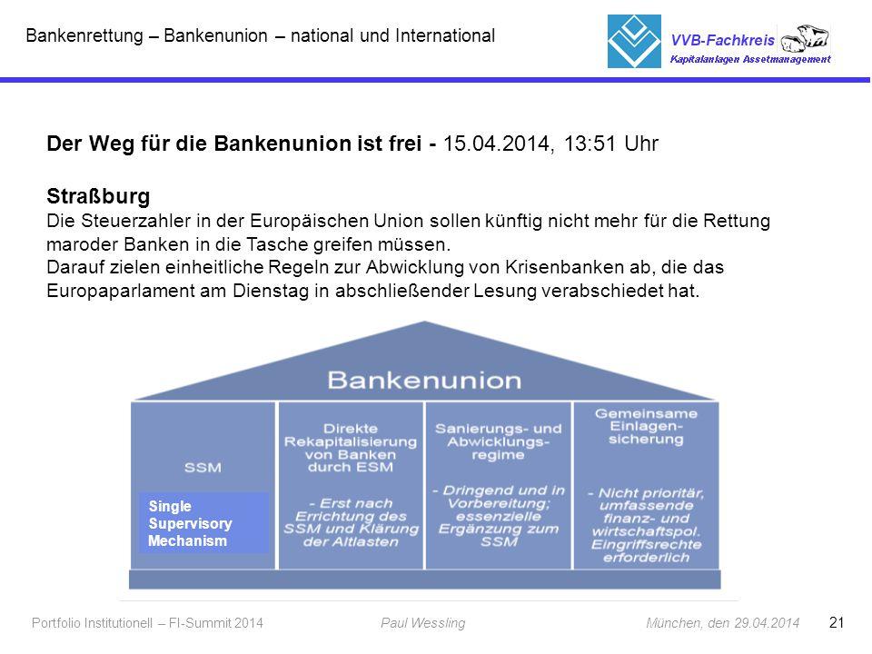 Der Weg für die Bankenunion ist frei - 15.04.2014, 13:51 Uhr Straßburg