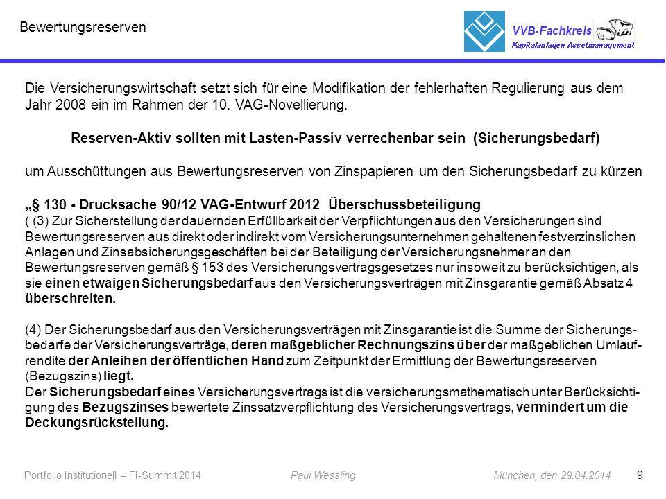 """""""§ 130 - Drucksache 90/12 VAG-Entwurf 2012 Überschussbeteiligung"""