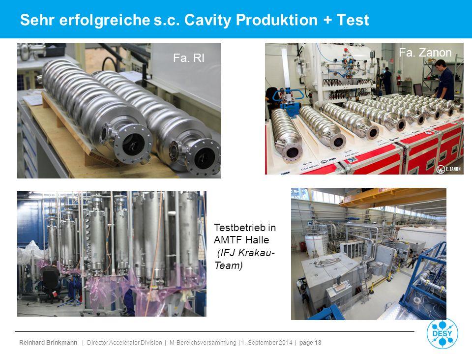 Sehr erfolgreiche s.c. Cavity Produktion + Test