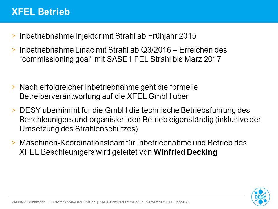 XFEL Betrieb Inbetriebnahme Injektor mit Strahl ab Frühjahr 2015