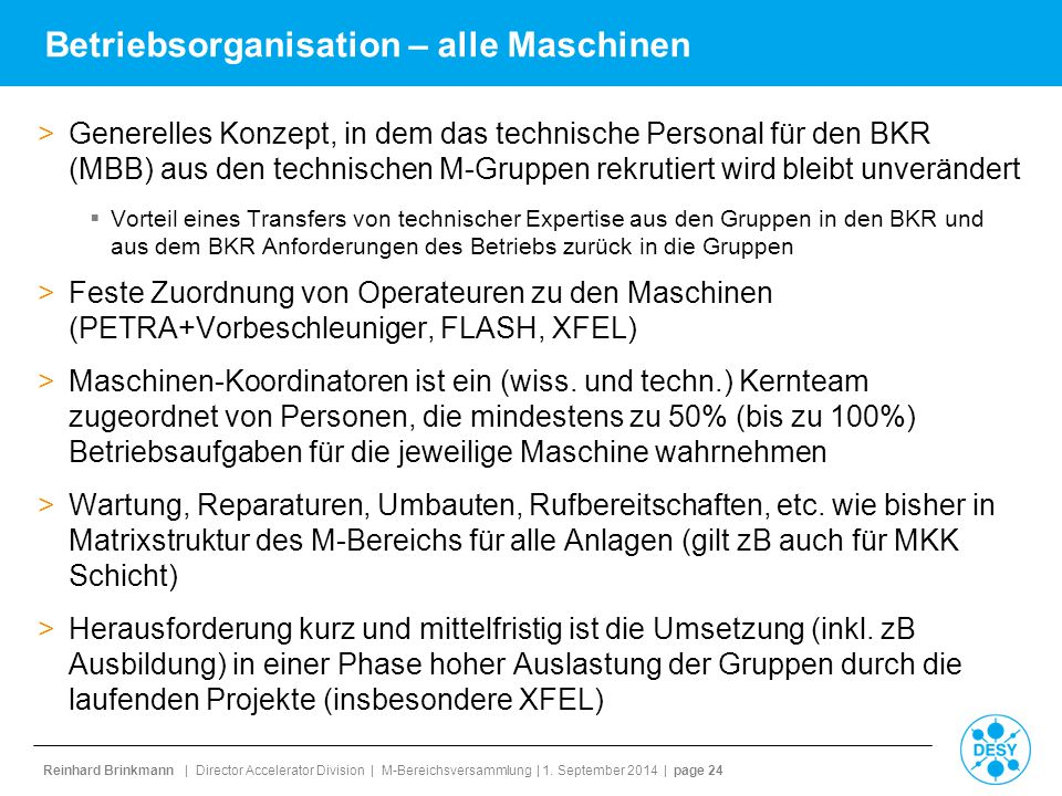 Betriebsorganisation – alle Maschinen