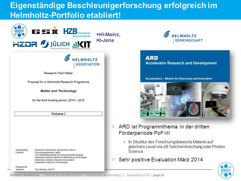 Eigenständige Beschleunigerforschung erfolgreich im Helmholtz-Portfolio etabliert!