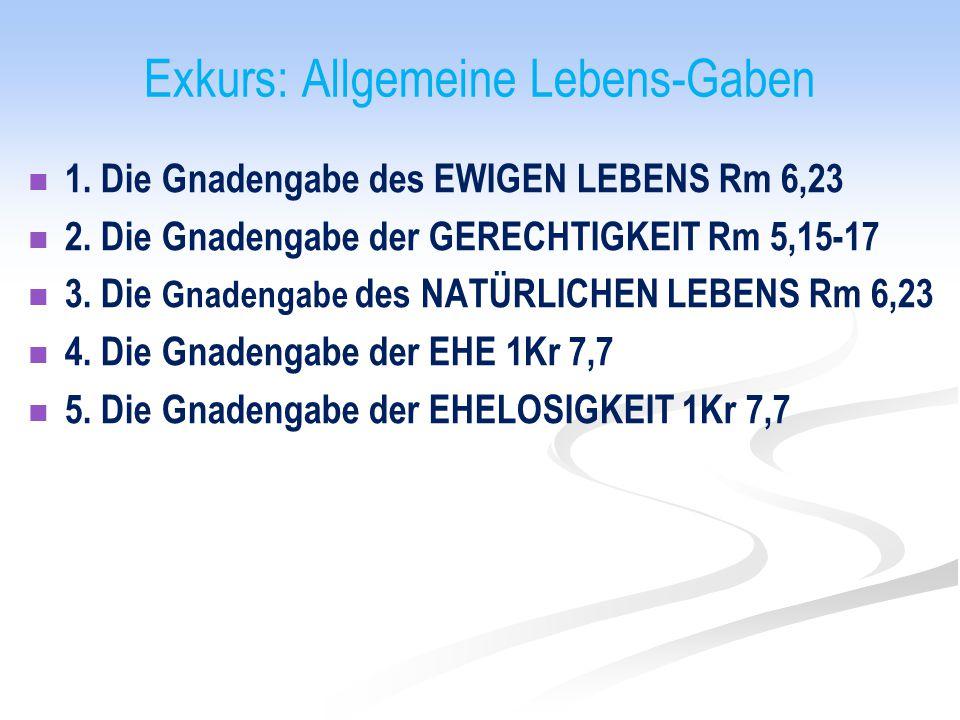 Exkurs: Allgemeine Lebens-Gaben