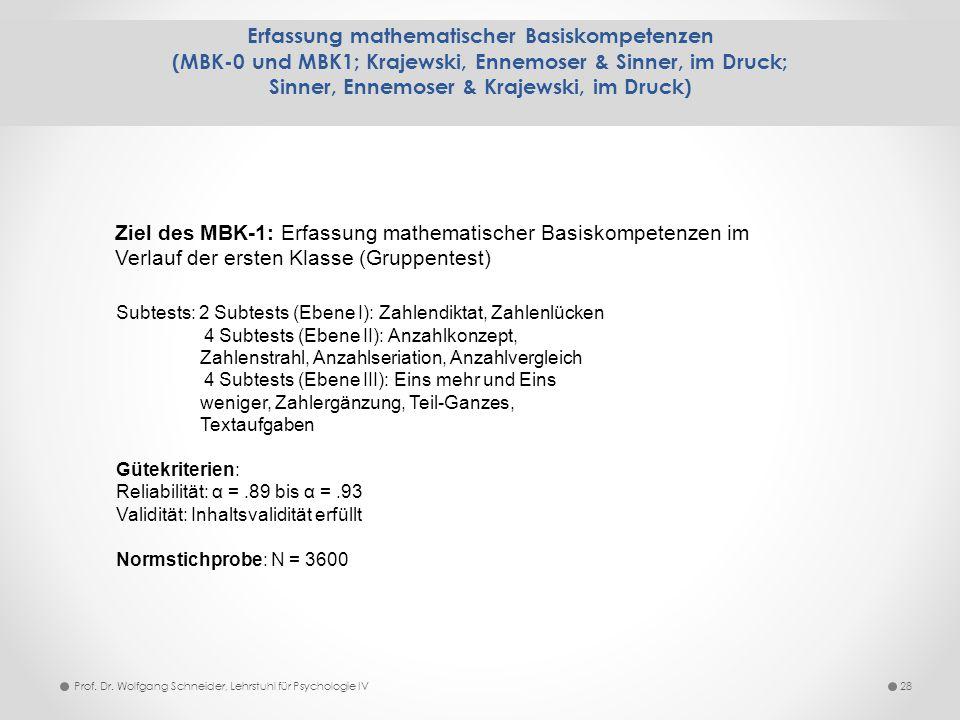 Erfassung mathematischer Basiskompetenzen (MBK-0 und MBK1; Krajewski, Ennemoser & Sinner, im Druck; Sinner, Ennemoser & Krajewski, im Druck)