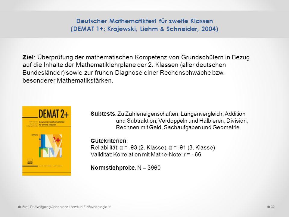 Deutscher Mathematiktest für zweite Klassen (DEMAT 1+; Krajewski, Liehm & Schneider, 2004)