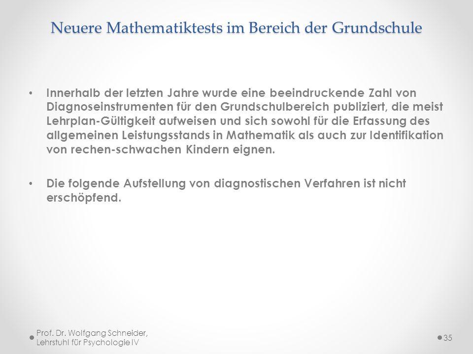 Neuere Mathematiktests im Bereich der Grundschule