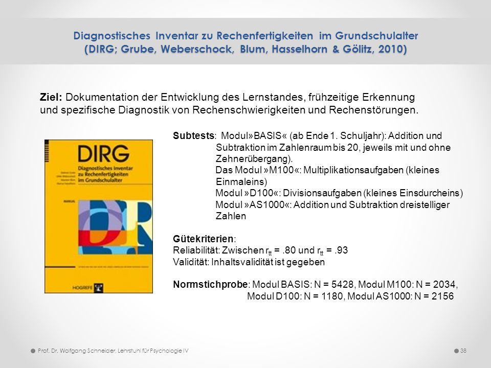 Diagnostisches Inventar zu Rechenfertigkeiten im Grundschulalter (DIRG; Grube, Weberschock, Blum, Hasselhorn & Gölitz, 2010)