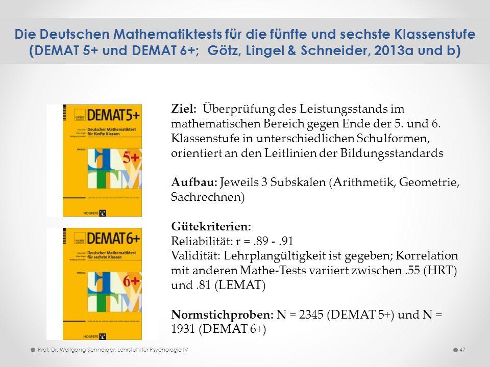 Die Deutschen Mathematiktests für die fünfte und sechste Klassenstufe (DEMAT 5+ und DEMAT 6+; Götz, Lingel & Schneider, 2013a und b)