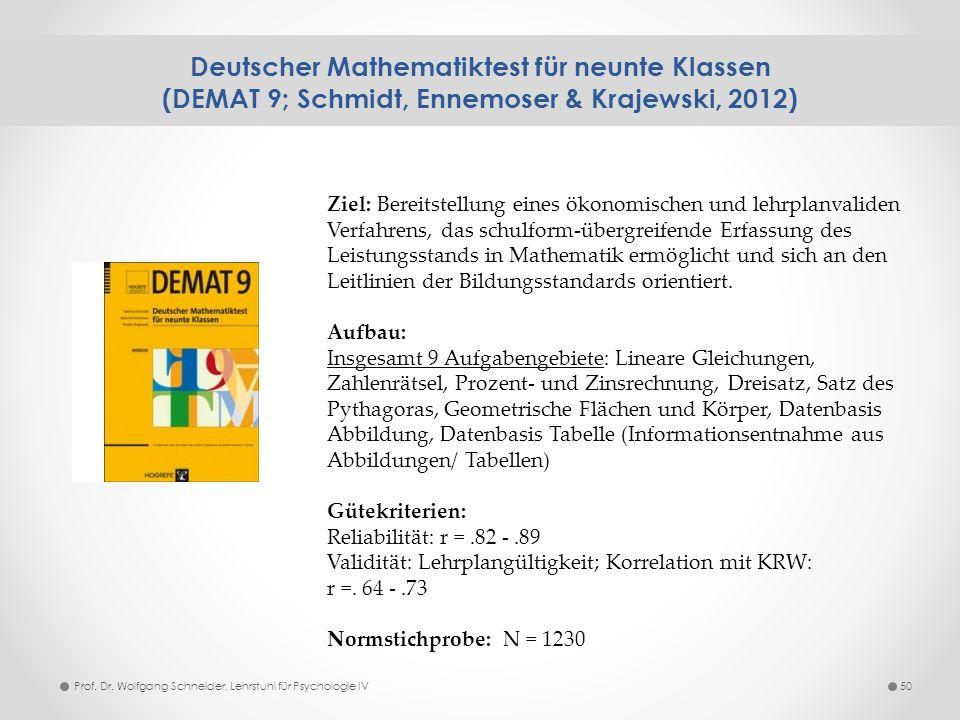 Deutscher Mathematiktest für neunte Klassen (DEMAT 9; Schmidt, Ennemoser & Krajewski, 2012)