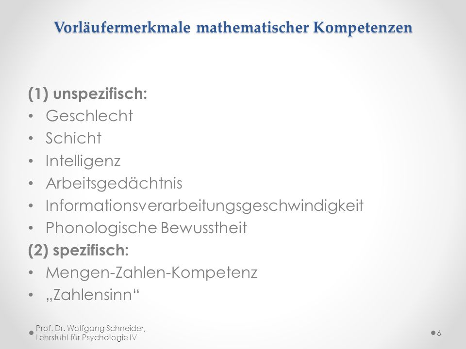 Vorläufermerkmale mathematischer Kompetenzen