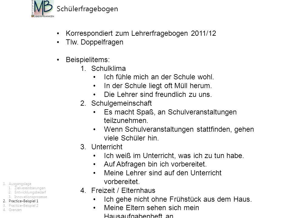 Korrespondiert zum Lehrerfragebogen 2011/12 Tlw. Doppelfragen