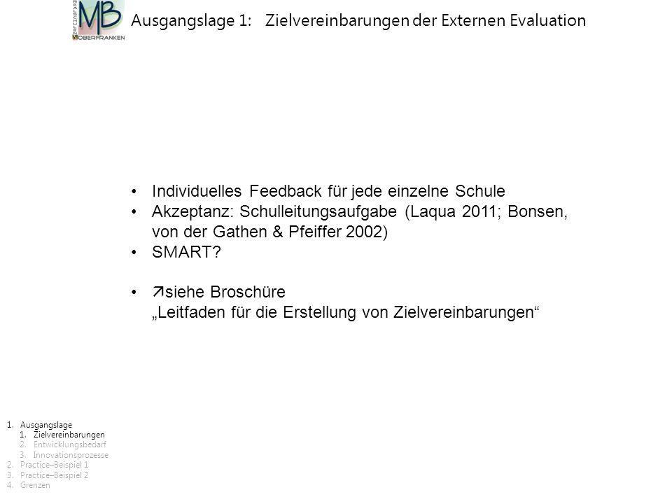 Ausgangslage 1: Zielvereinbarungen der Externen Evaluation