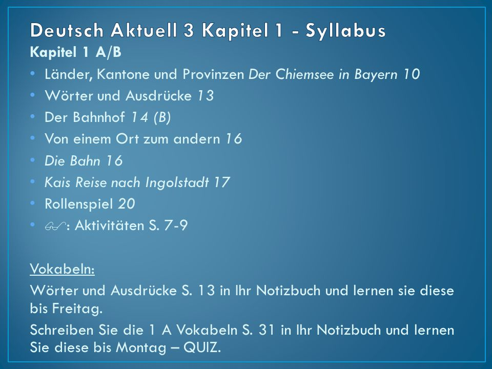 Deutsch Aktuell 3 Kapitel 1 - Syllabus