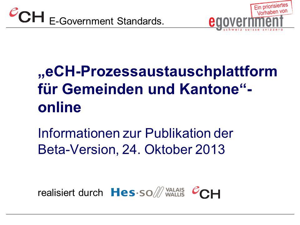 """""""eCH-Prozessaustauschplattform für Gemeinden und Kantone - online"""