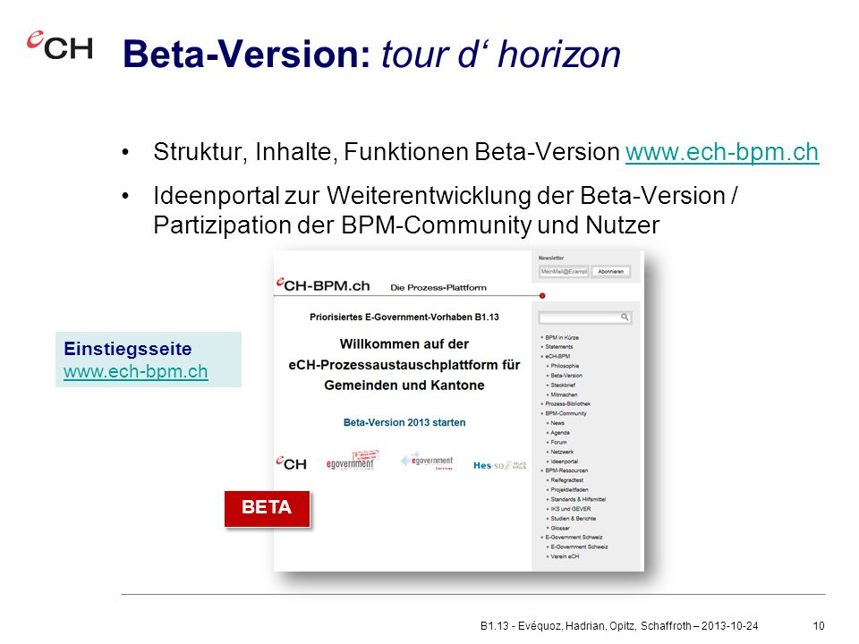 Beta-Version: tour d' horizon