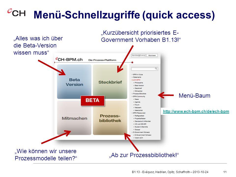 Menü-Schnellzugriffe (quick access)