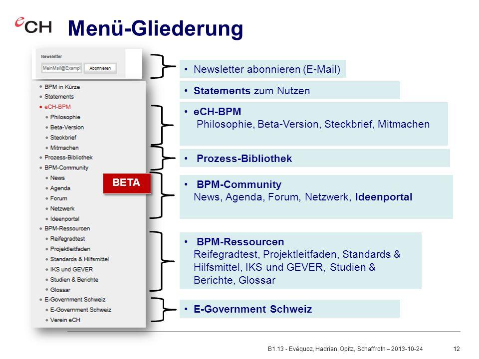Menü-Gliederung Newsletter abonnieren (E-Mail) Statements zum Nutzen