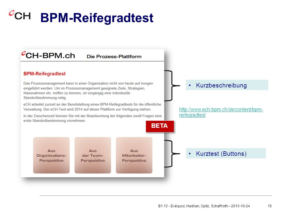 BPM-Reifegradtest Kurzbeschreibung BETA BETA Kurztest (Buttons)