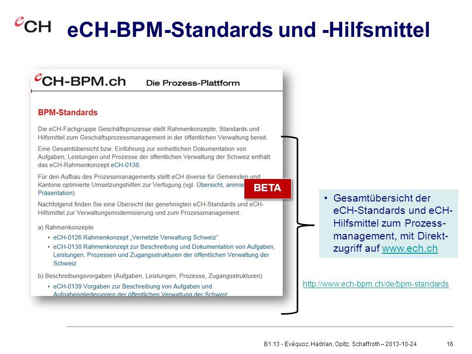 eCH-BPM-Standards und -Hilfsmittel