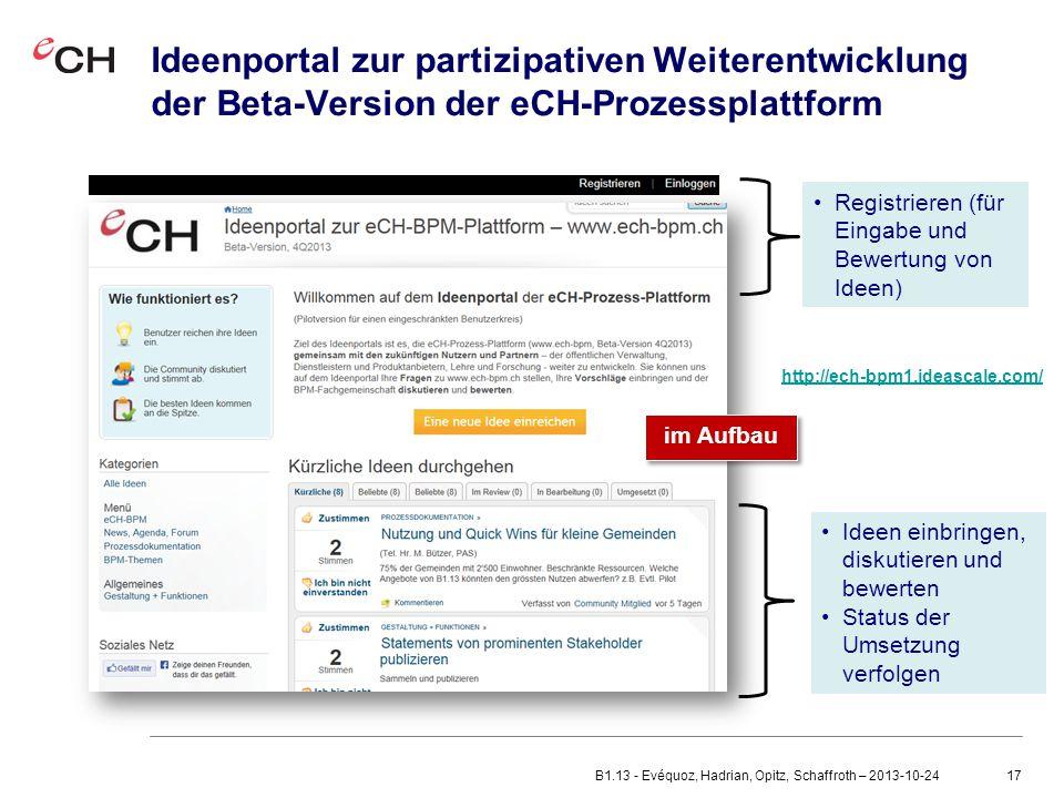 Ideenportal zur partizipativen Weiterentwicklung der Beta-Version der eCH-Prozessplattform
