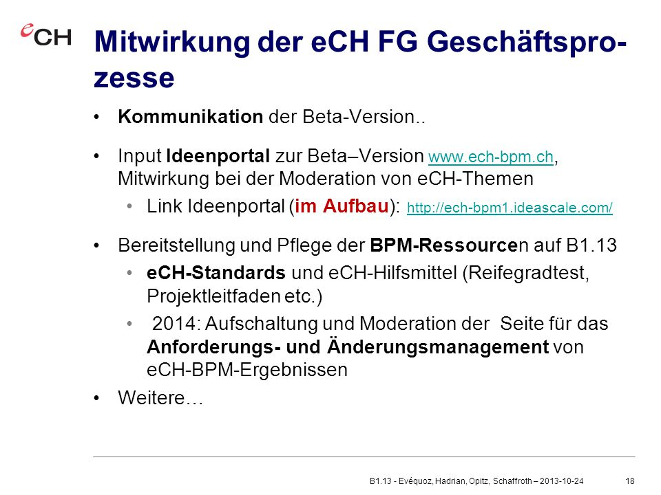 Mitwirkung der eCH FG Geschäftspro-zesse