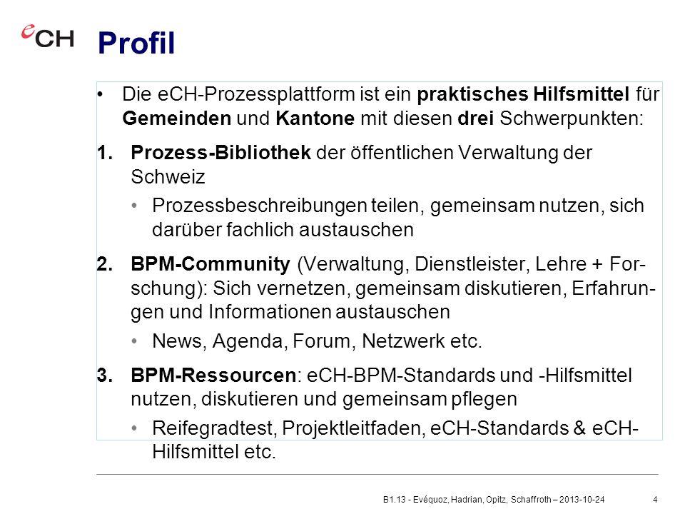 Profil Die eCH-Prozessplattform ist ein praktisches Hilfsmittel für Gemeinden und Kantone mit diesen drei Schwerpunkten: