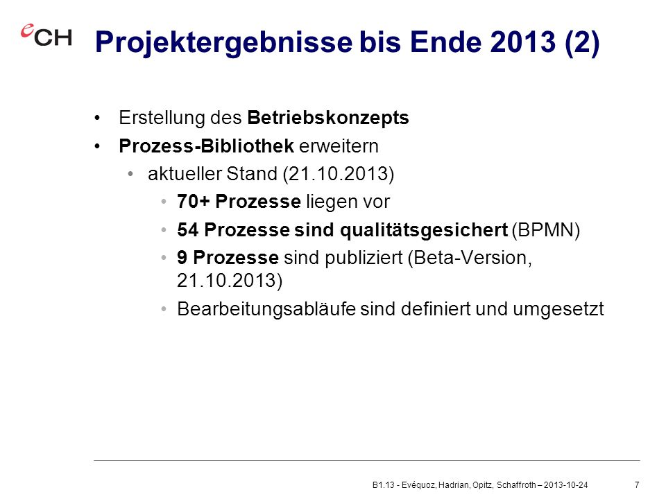 Projektergebnisse bis Ende 2013 (2)
