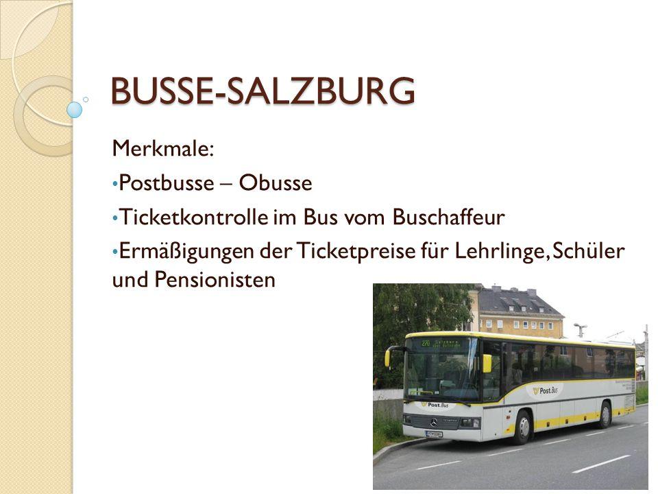BUSSE-SALZBURG Merkmale: Postbusse – Obusse