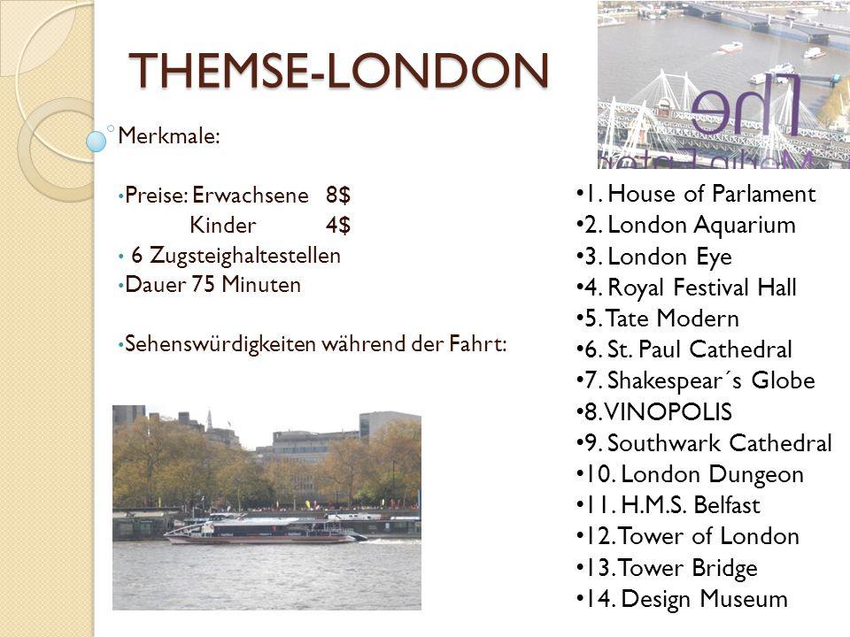 THEMSE-LONDON 1. House of Parlament 2. London Aquarium 3. London Eye