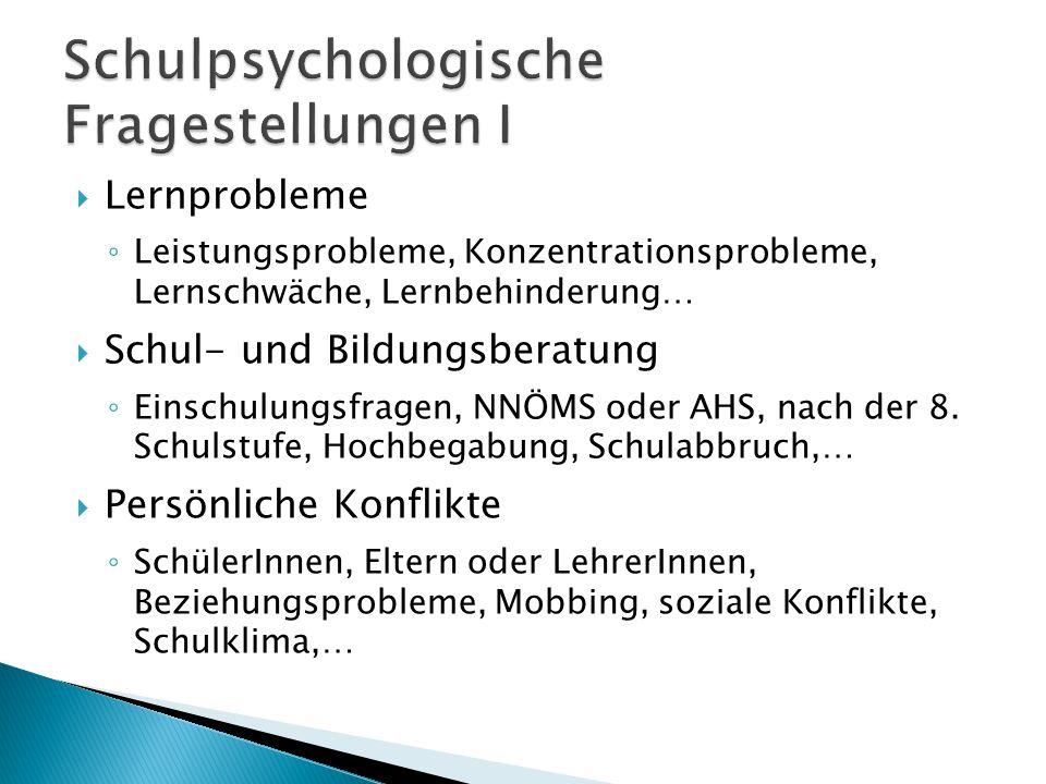 Schulpsychologische Fragestellungen I
