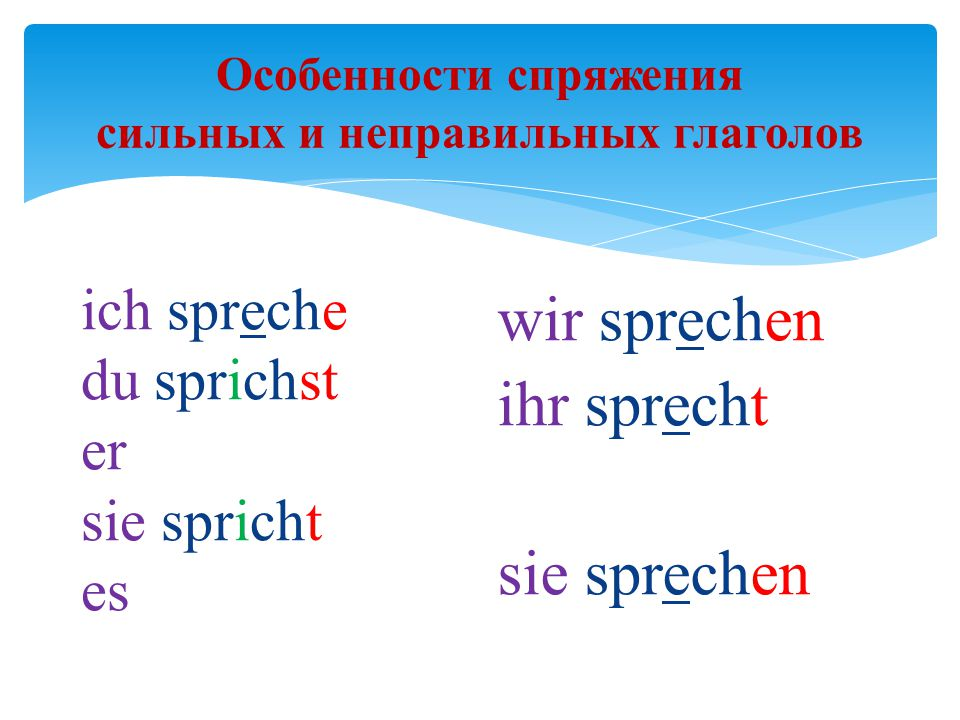 Особенности спряжения сильных и неправильных глаголов
