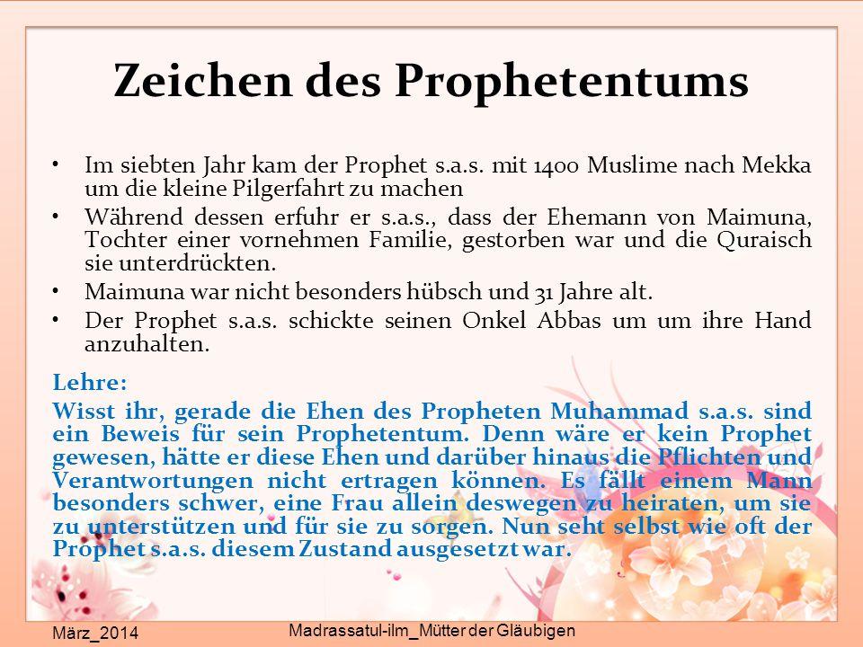 Zeichen des Prophetentums