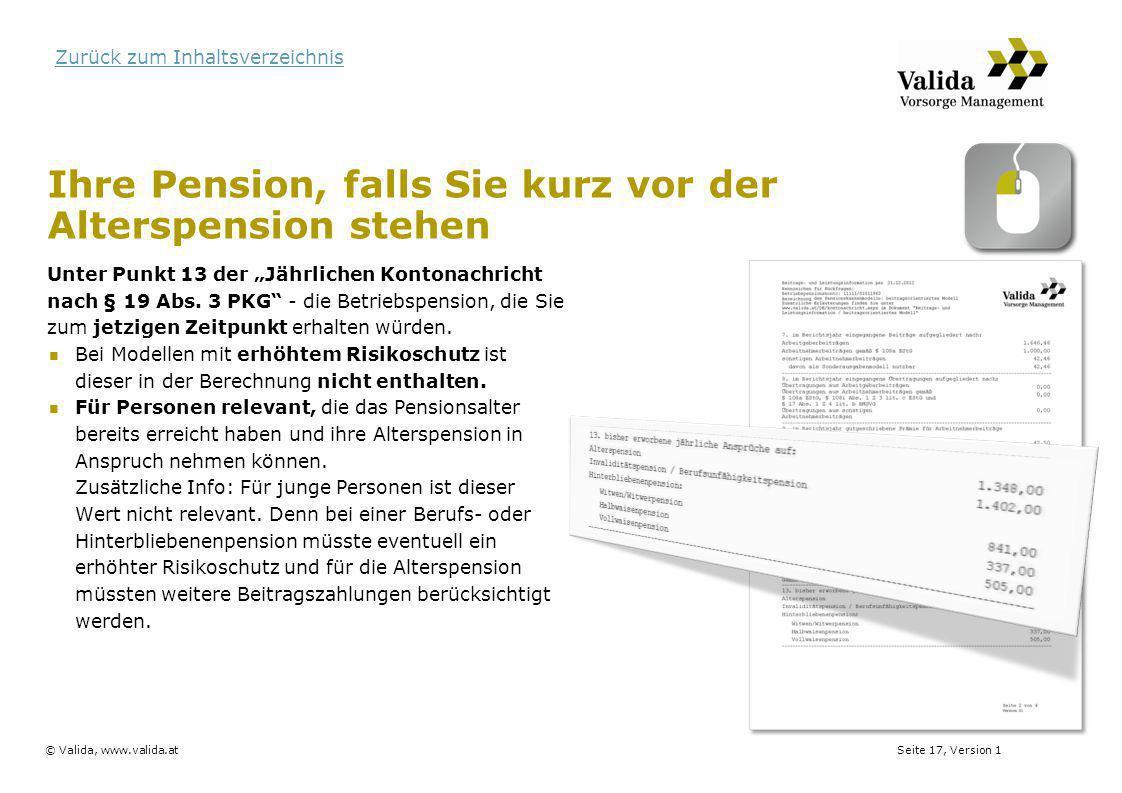 Ihre Pension, falls Sie kurz vor der Alterspension stehen