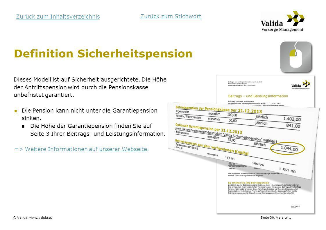 Definition Sicherheitspension