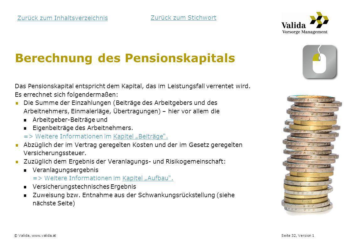 Berechnung des Pensionskapitals