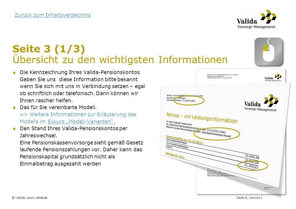 Seite 3 (1/3) Übersicht zu den wichtigsten Informationen