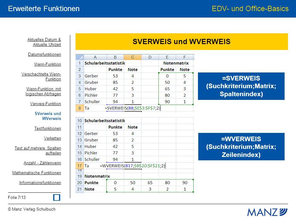ü SVERWEIS und WVERWEIS =SVERWEIS (Suchkriterium;Matrix; Spaltenindex)