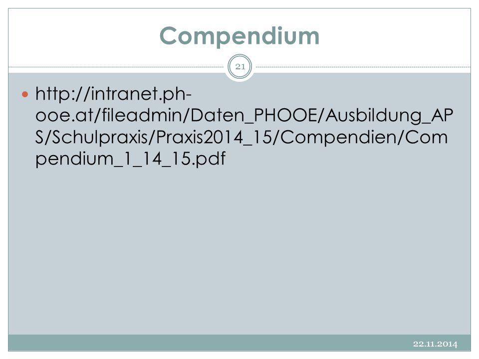 Compendium http://intranet.ph-ooe.at/fileadmin/Daten_PHOOE/Ausbildung_APS/Schulpraxis/Praxis2014_15/Compendien/Compendium_1_14_15.pdf.
