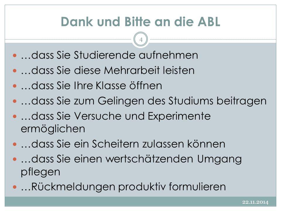 Dank und Bitte an die ABL