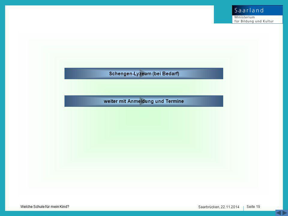 Schengen-Lyzeum (bei Bedarf) weiter mit Anmeldung und Termine