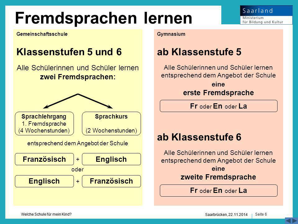 Fremdsprachen lernen Klassenstufen 5 und 6 ab Klassenstufe 5
