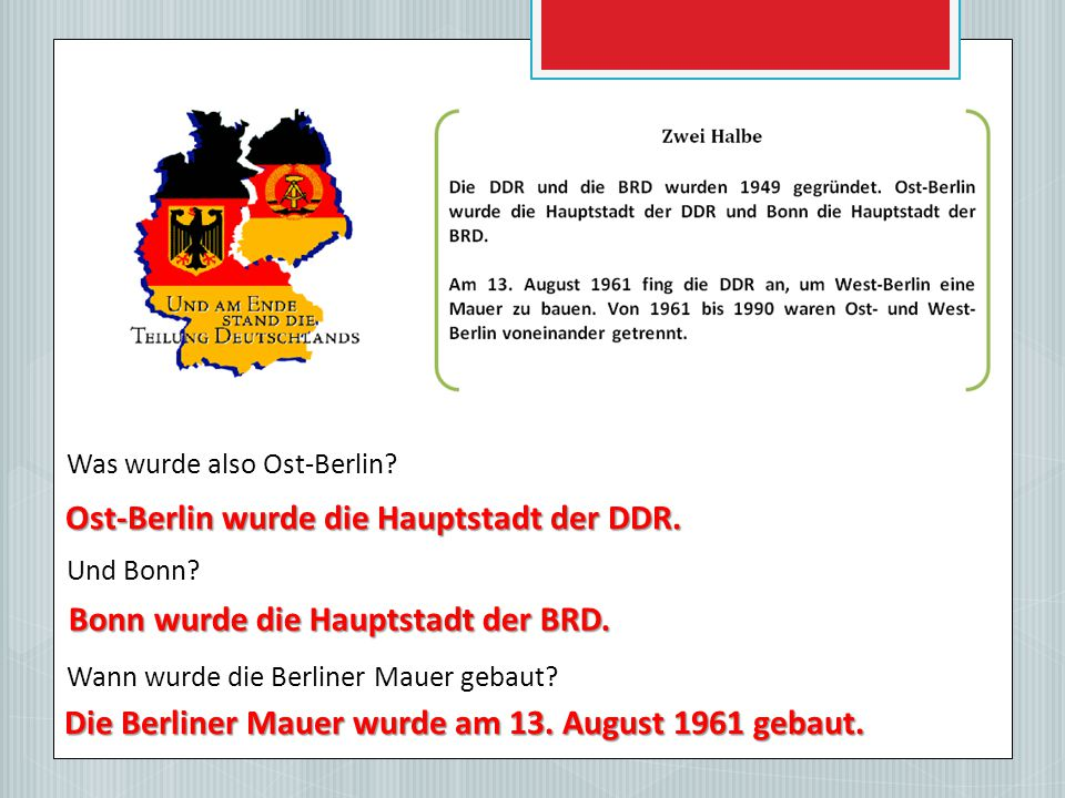 Ost-Berlin wurde die Hauptstadt der DDR.