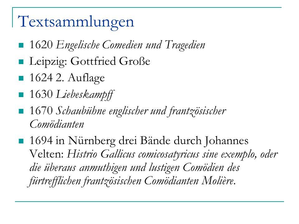 Textsammlungen 1620 Engelische Comedien und Tragedien