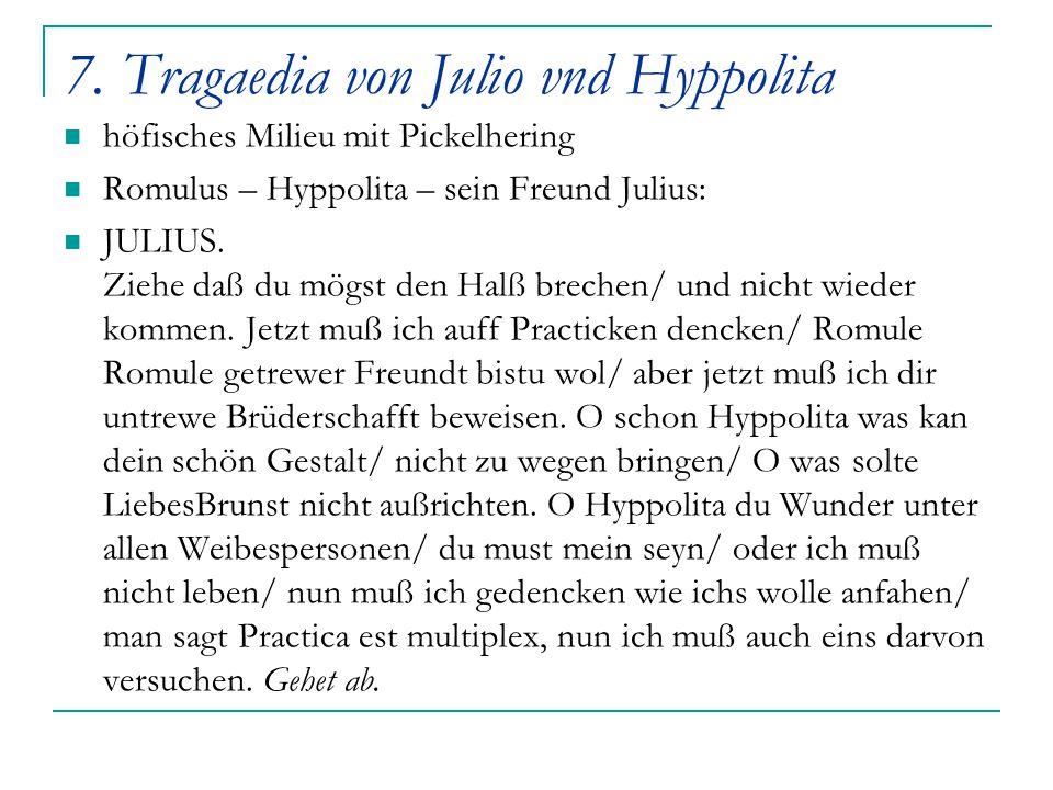 7. Tragaedia von Julio vnd Hyppolita
