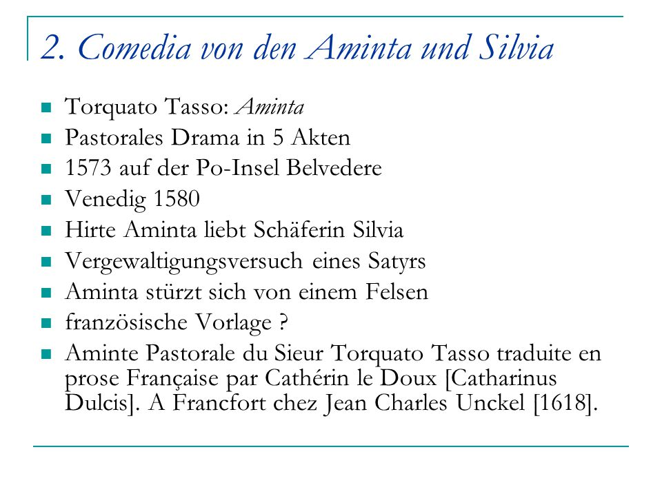 2. Comedia von den Aminta und Silvia
