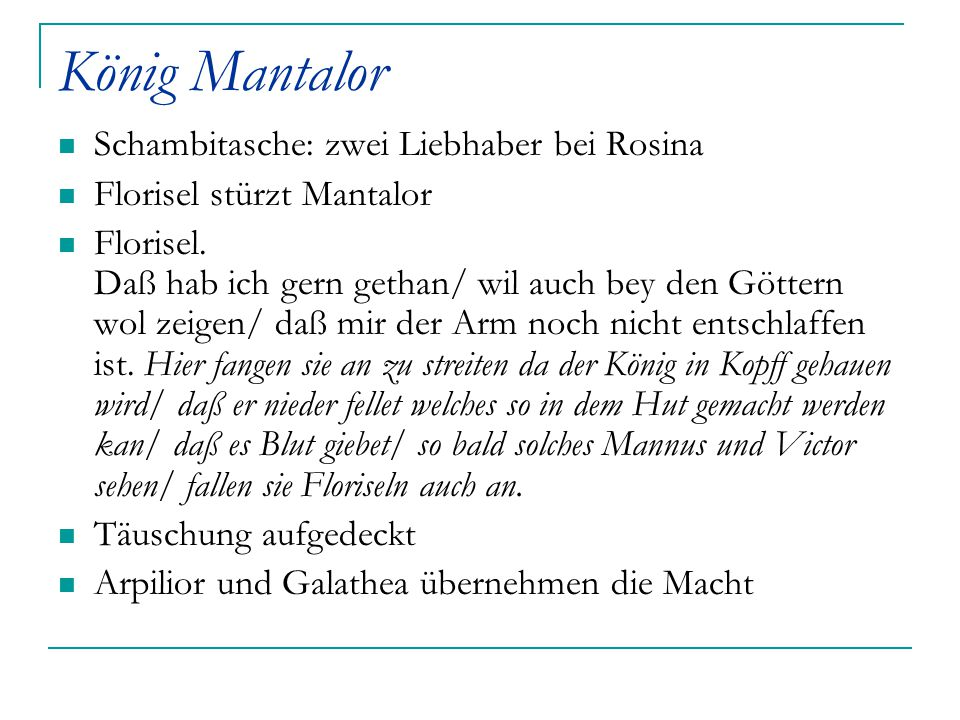 König Mantalor Schambitasche: zwei Liebhaber bei Rosina